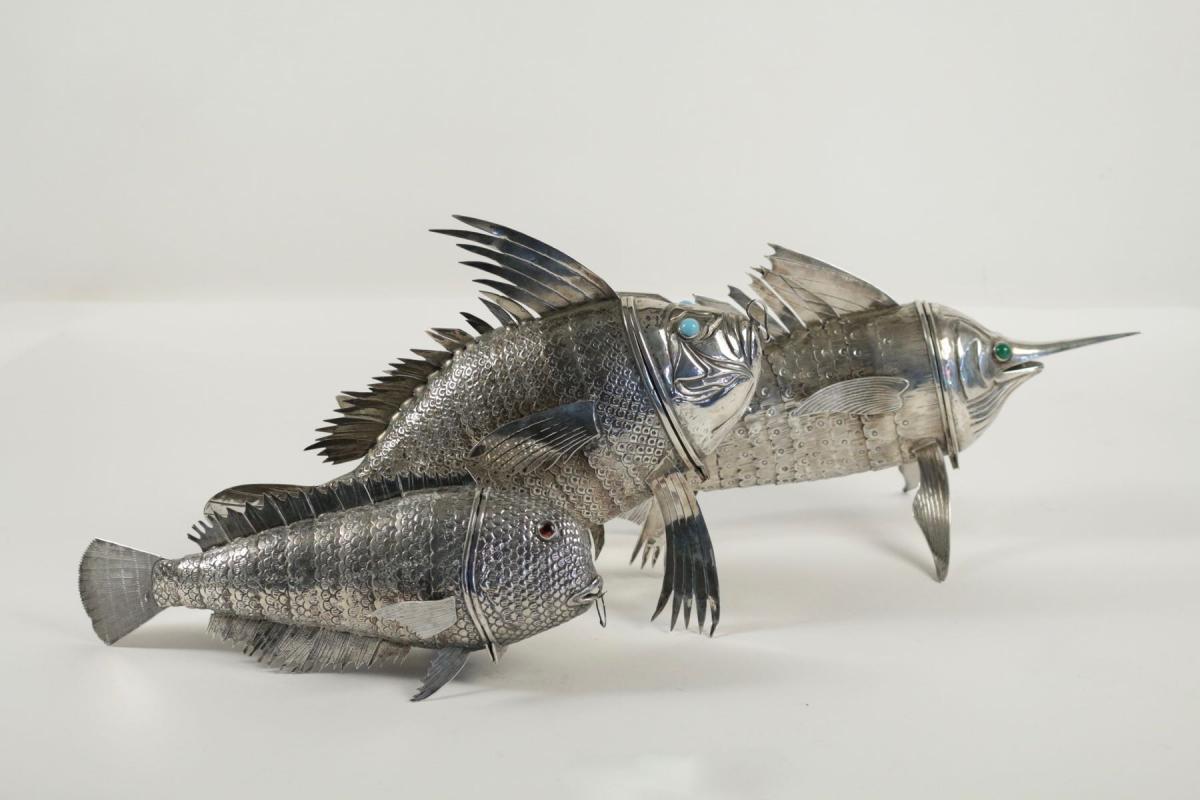 Le march biron monumental poisson carpe en argent massif for Poisson carpe