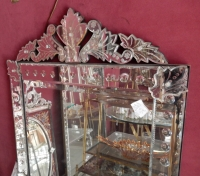1900′ Miroir Venise à Bulles à Fronton 159 X 84 CM