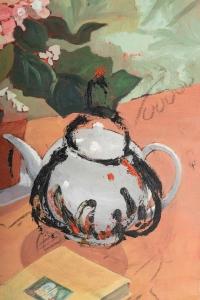 Table garnie pour le thé avec un Bouquet de Fleurs, XXème siècle.