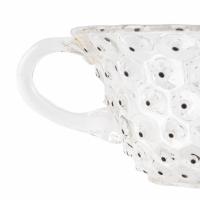 """Suite de 8 Tasses et Soucoupes """"Cactus"""" verre blanc émaillé noir de René LALIQUE"""