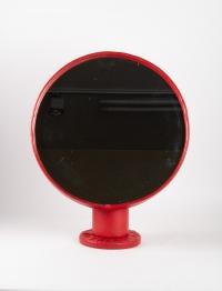 Miroir à Poser, Gainé De Cuir Rouge, Design 1950, Attribué à Jacques Adnet