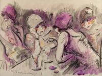 ELLER (Lucien Roudier dit) (Marseille 1894, 1940)-Scène de café -Années 20.