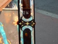 1900' Miroir Venise Rouge et Or à Motifs de Fleurs Eglomisées 200 X 100 cm