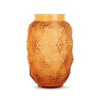 """RENÉ LALIQUE (1860-1945) Vase """"Davos"""" en verre ambre"""