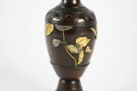 Japanese Bronze Vase with gold and Silver foils decoration