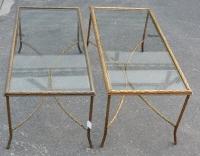 1950/70' Paire Tables Basses en Bronze Doré Décor Palmier Maison Charles 105 X 50 cm