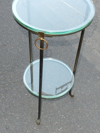 1970' Guéridon Rond Bronze ou Laiton Maison Jansen Double Patine