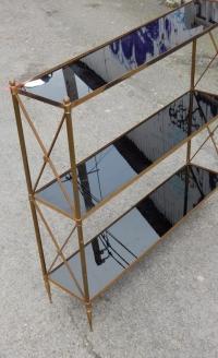 1970′ Étagère à 3 niveaux Maison Baguès Laiton Et Opaline 92 x 22 X H 87cm