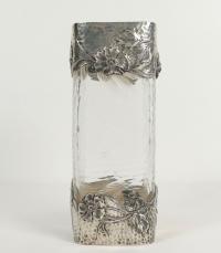 Vase en argent massif et cristal martelé Art nouveau