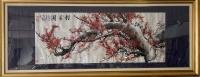 Grande peinture horizontale de prunus en fleur sur papier, École Chinoise, 20ème siècle