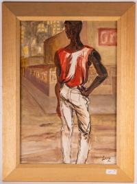 Africain en t-shirt rouge, XXème Siècle. Evelyne Luez, école de Paris