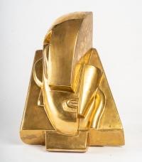 Tête en céramique glacurée, d'après Joseph Csaky (1888 - 1971)