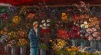 """Huile sur panneau, Charles Camille Saint-Saëns (1835 - 1921), """"Le Marchand de fleurs"""""""