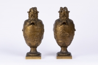 A Pair of French 19th Century Renaissance St. Patinated Bronze Urns By Ferdinand Barbedienne (1810-1892).