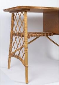 Bureau en rotin et bambou 1950 dans l'esprit de Louis Sognot
