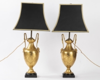 A Pair of French 19th Century Neo-Classical St. Ormulu and Belgium Black Marble Petrol Lamps.