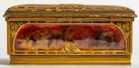 Boîte à Timbres en agathe et bronze signé Louchet à Paris.