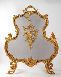 Important Pare Feu En Bronze Doré Du XIXème Siècle, Epoque Napoléon III, Grande Décoration