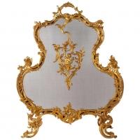 Important Firewall In Golden Bronze Of XIXth Century, Epoque Napoleon III, Large Decoration