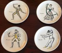 "Set of 8 coasters by Piero Fornasetti, série ""Maschere Italiane"" with original box, 1950"