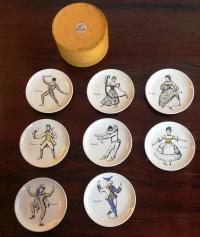 "Set of 8 coasters by Piero Fornasetti, série ""Maschere Italiane"" with original box, 1950"