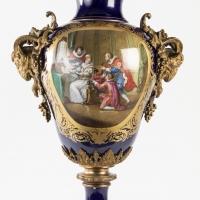 A French 19th Century Louis XVI St. Cobalt Blue Sèvres Porcelain And Orumulu Vase.