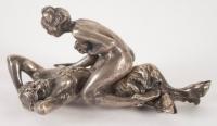 Bronze érotique russe en argent massif, signé. Réf: 156.