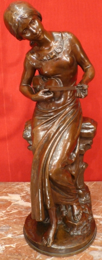 MOREAU MATHURIN BRONZE ANCIEN ORIGINAL 19è SIECLE JEUNE FEMME AU VIOLON