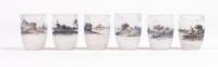 Daum Nancy: Set of Six acid etched Glass Goblet Vase, 'Dutch Landscape'