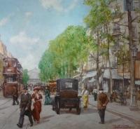Leon ZEYTLINE Ecole Russe 20è siècle Vue de Paris Tramway, calèches et automobiles sur le Boulevard de Strasbourg Huile sur toile signée
