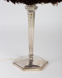 Lampe 1930 pied argenté abat-jour refait dans le style Rhulmanien