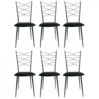 Série de 6 chaises en fer forgé 1960