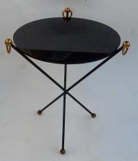 1960/70′ Guéridon Fer Forgé Ornements En Laiton Style Jacques Adnet Diamètre 49 cm