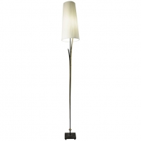 Grand lampadaire des années 1980 en métal peint, patiné et doré.