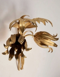 1960s Pair of Gilded Iron Maison FlorArt Sconces