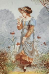 Paire d'assiettes en porcelaine peinte à la main du XIXème siècle.
