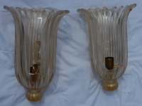 1970' Paire d Appliques Etiquette Cristal Murano Archiméde Seguso