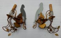 1970' Paire d'Appliques a la Perruche Style Baguès Un Bras