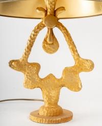 "Lampe en bronze doré, signé ""De Wael"" (1980-1990)"