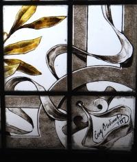 Vitrail Vitraux à l'Antique Signé Eugène Oudinot Daté 1887