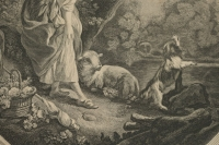 """Gravure Romantique, XIXème Siècle, """"LArrivée du Courrier"""""""