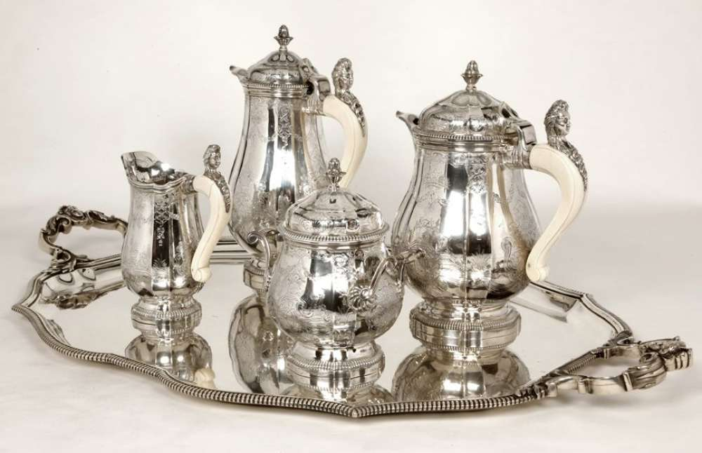 PAUL CANAUX ORFEVRE - SERVICE THE CAFE 4 PIECES ARGENT XIXè