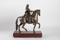 Sculpture Of Louis XIV Silver Bronze And Pedestal Marble Cherry Nineteenth Century