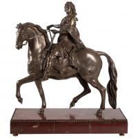 Sculpture De Louis XIV En Bronze Argenté Et Socle En Marbre Griotte, XIXème Siècle