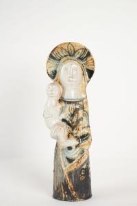 Vierge à l'enfant en céramique par Jean Derval (1925-2010)