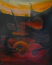 ALDINE Peinture contemporaine XXème siècle Abstraction lyrique Huile sur toile signée