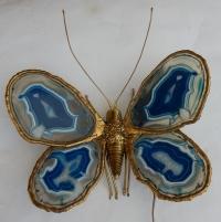 1970′ Applique Papillon Duval Brasseur Ou Isabelle Faure Avec Ailes En Agates Bleues 39 X H 39 CM