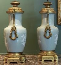 Paire de lampes en porcelaine. Époque Napoléon III