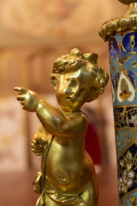 Lampe cloisonnée monture bronze 19e siècle