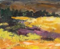 Champ et Montagne, Peinture sur Bois, XX siècle.
